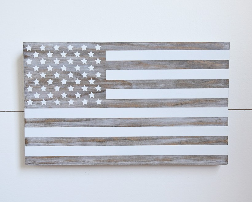 DIY Wooden American Flag Sign on shiplap backgroung