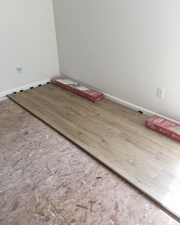 Installation of Pergo Outlast flooring in Vienna Oak in our bedroom