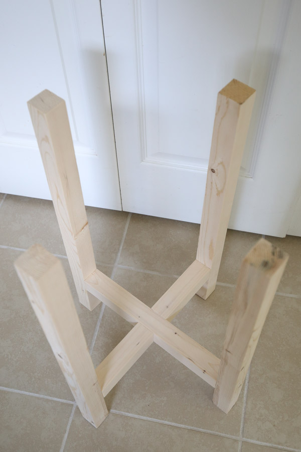 base of DIY side table assembled