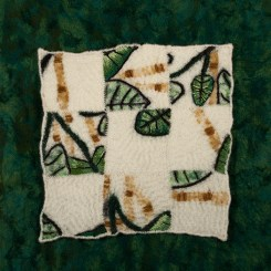 Hand-dyed and needle felted rayon background. Needle felting and hand stitching on wool felt. 2016