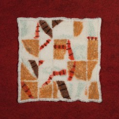 Needle and wet felting with wool and hand-dyed silk gauze. Hand stitching. 2016