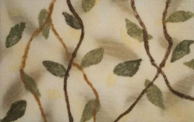 Ecoprint on wool felt with needle felting. 2016