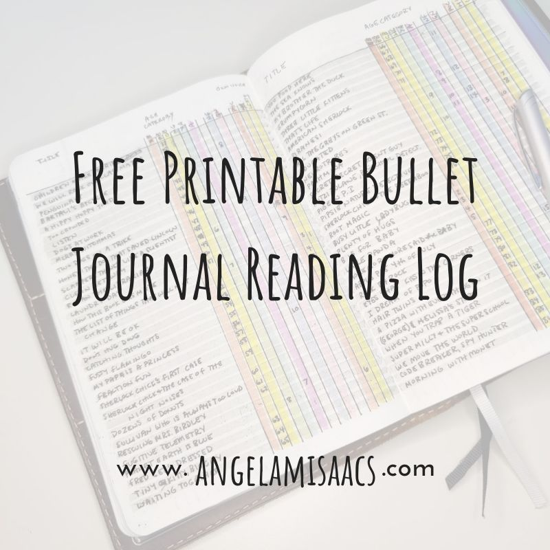 Free Printable Bullet Journal reading log - text over picture of hand-drawn reading log in a notebook