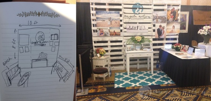 Wedding expo booth palette wall