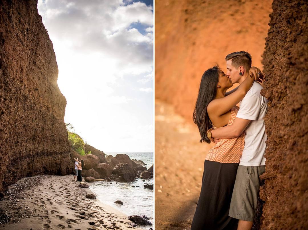 Honeymoon photographs at black sand beach in Maui