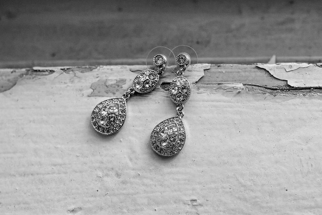 Diamond tear drop earrings for wedding