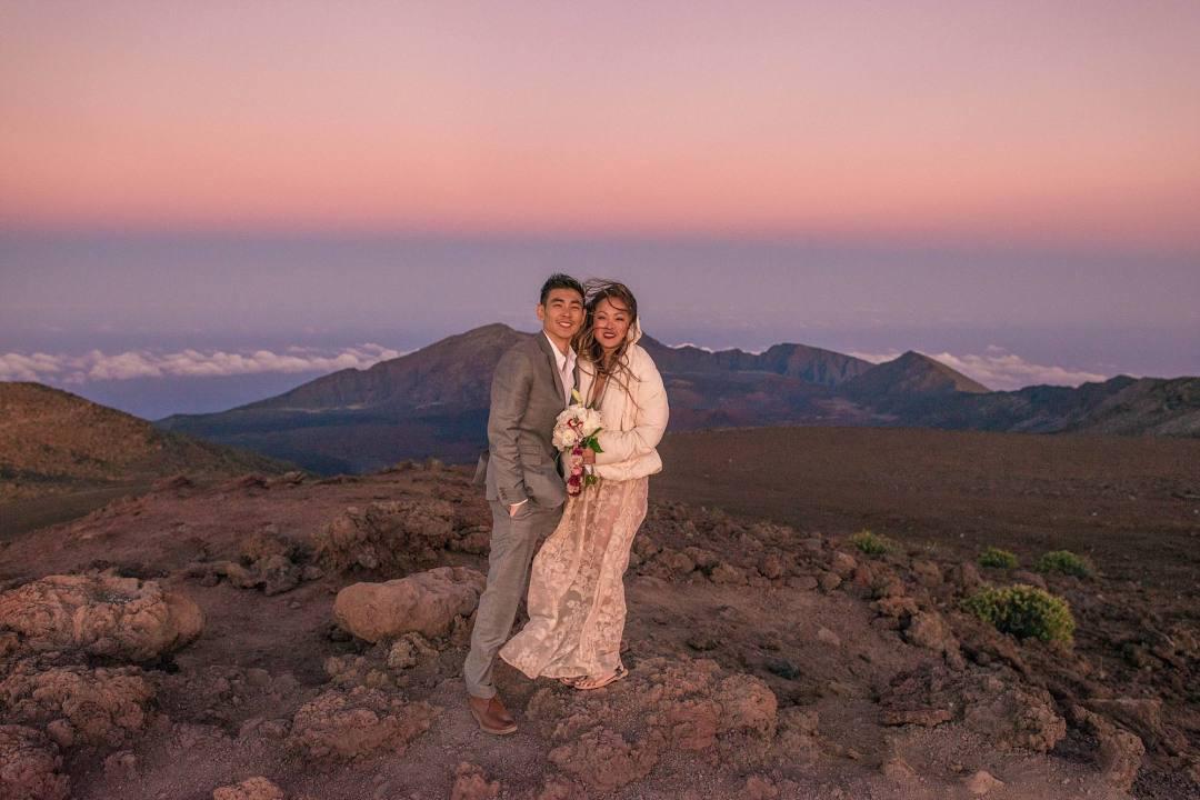 cold bride and groom on top of Haleakala