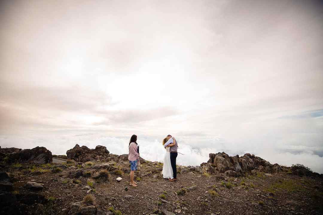 just married on top of haleakala