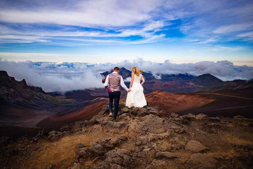 sliding sands trail on Haleakala with bride and groom