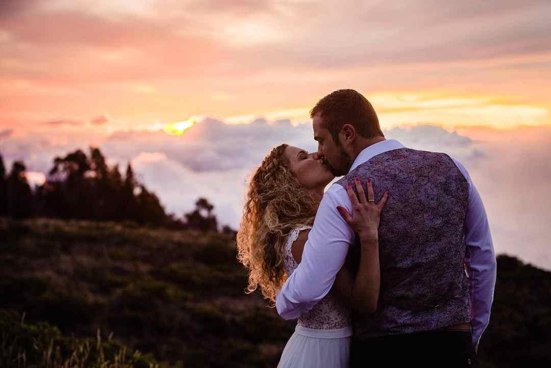 sunset wedding on haleakala