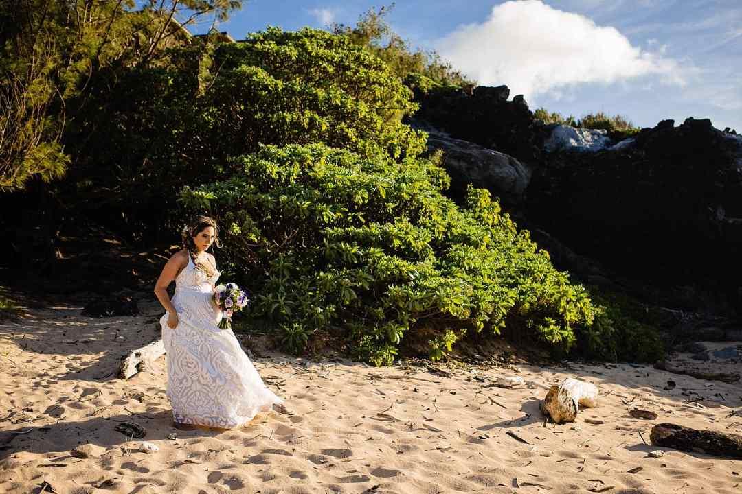 bride at oneloa beach