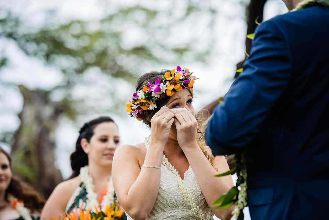 bride crying during cereomony