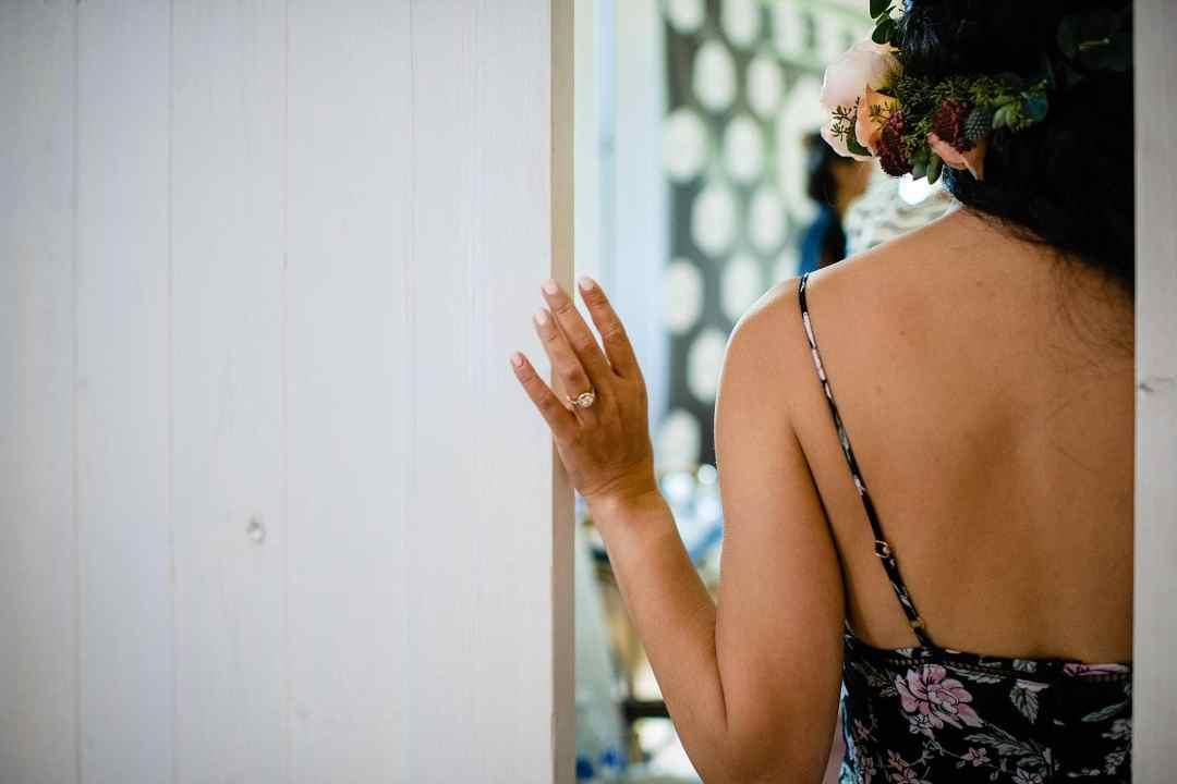 Bride getting read at Steeple House Kapalua