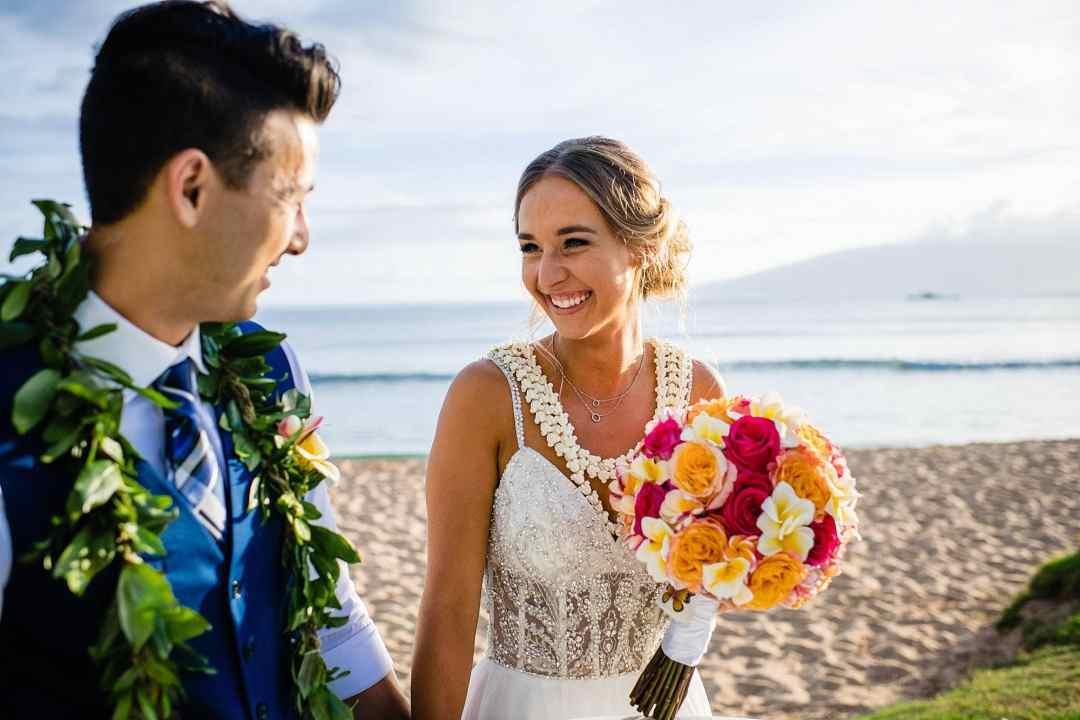 bride smiling after wedding at hyatt maui