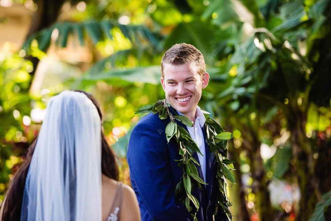 groom's reaction to seeing his bride at ritz carlton kapalua