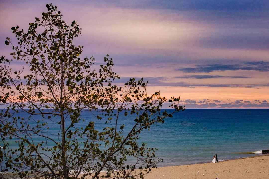 west michigan wedding phtoographer - sunset at warren dunes state park