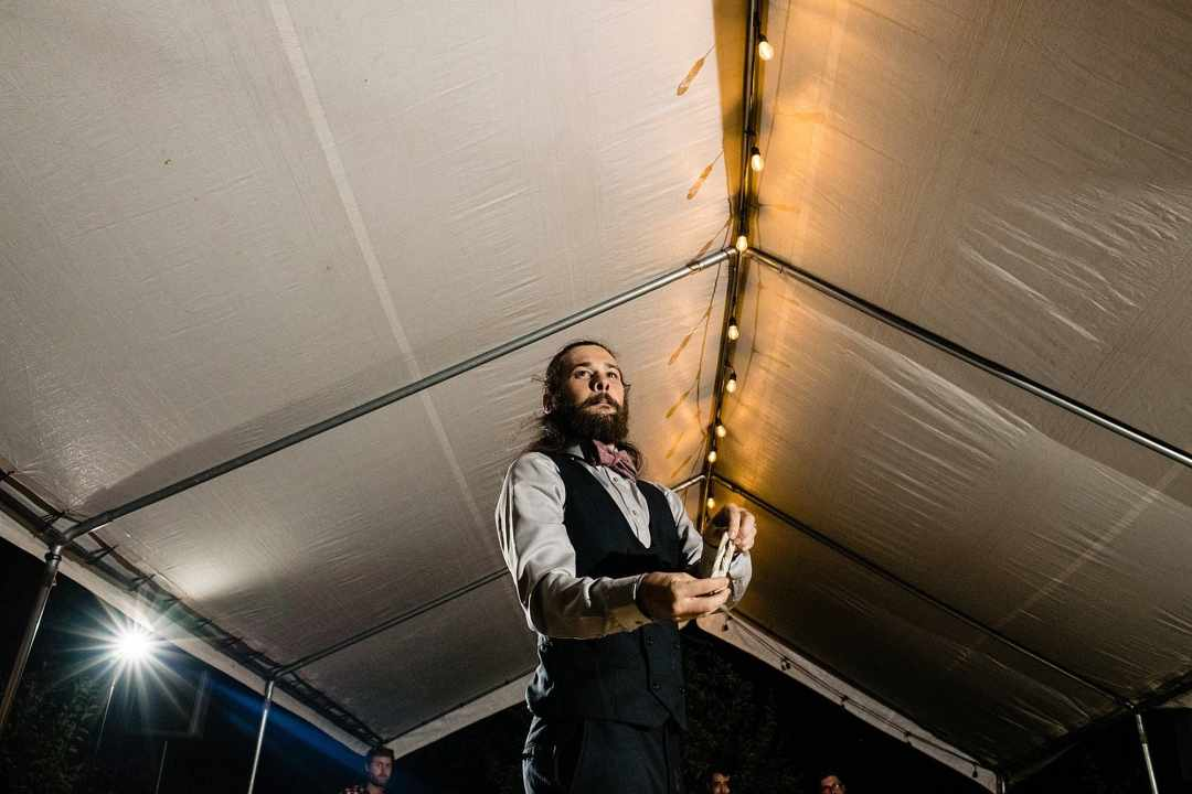 garter toss with groom