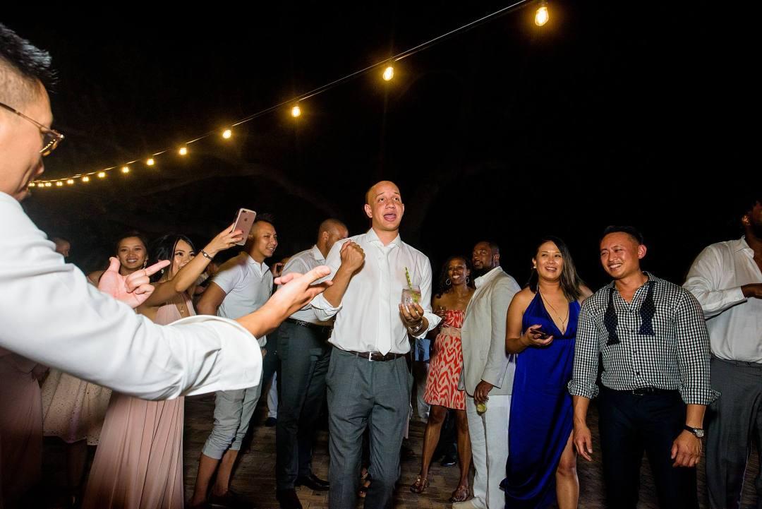 groom dancing at reception at olowalu plantation house