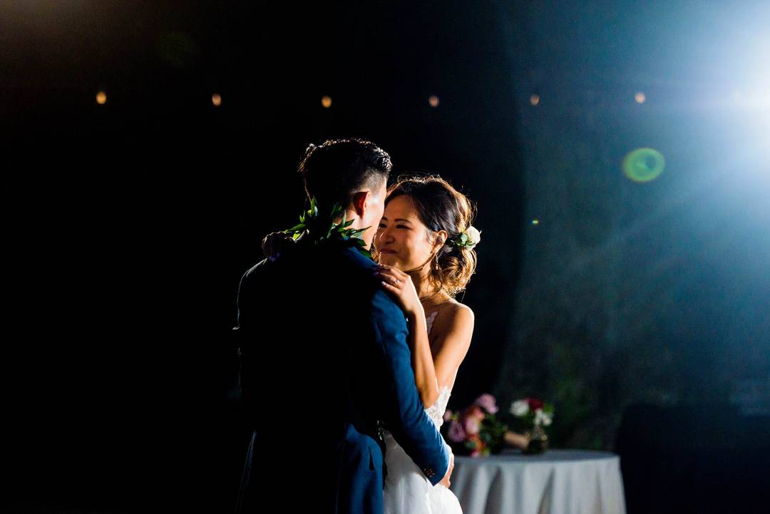 bride and groom's first dance at Olowalu Plantation House