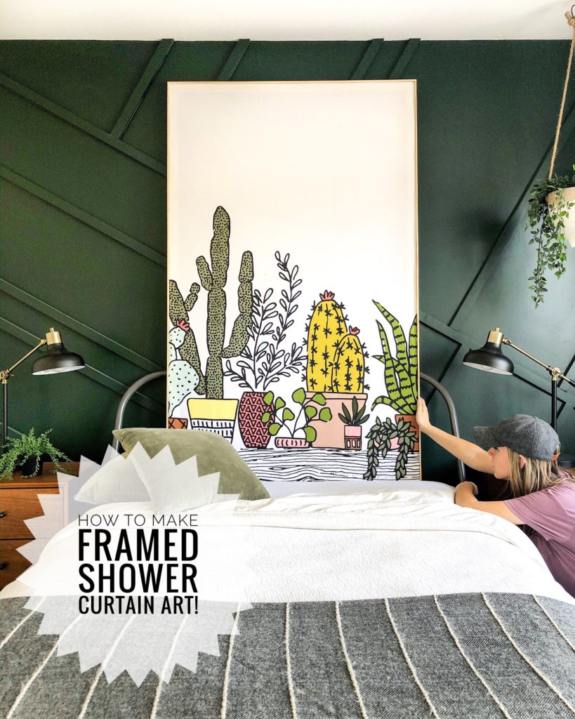 how to diy shower curtain wall art