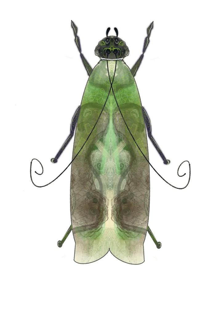 Groene mot, A3 print Angela Peters, NatuurlijkAngelart