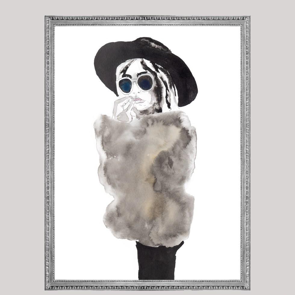 Woman fur coat , Natuurlijk Angelart, Angela Peters. Illustraties inkt