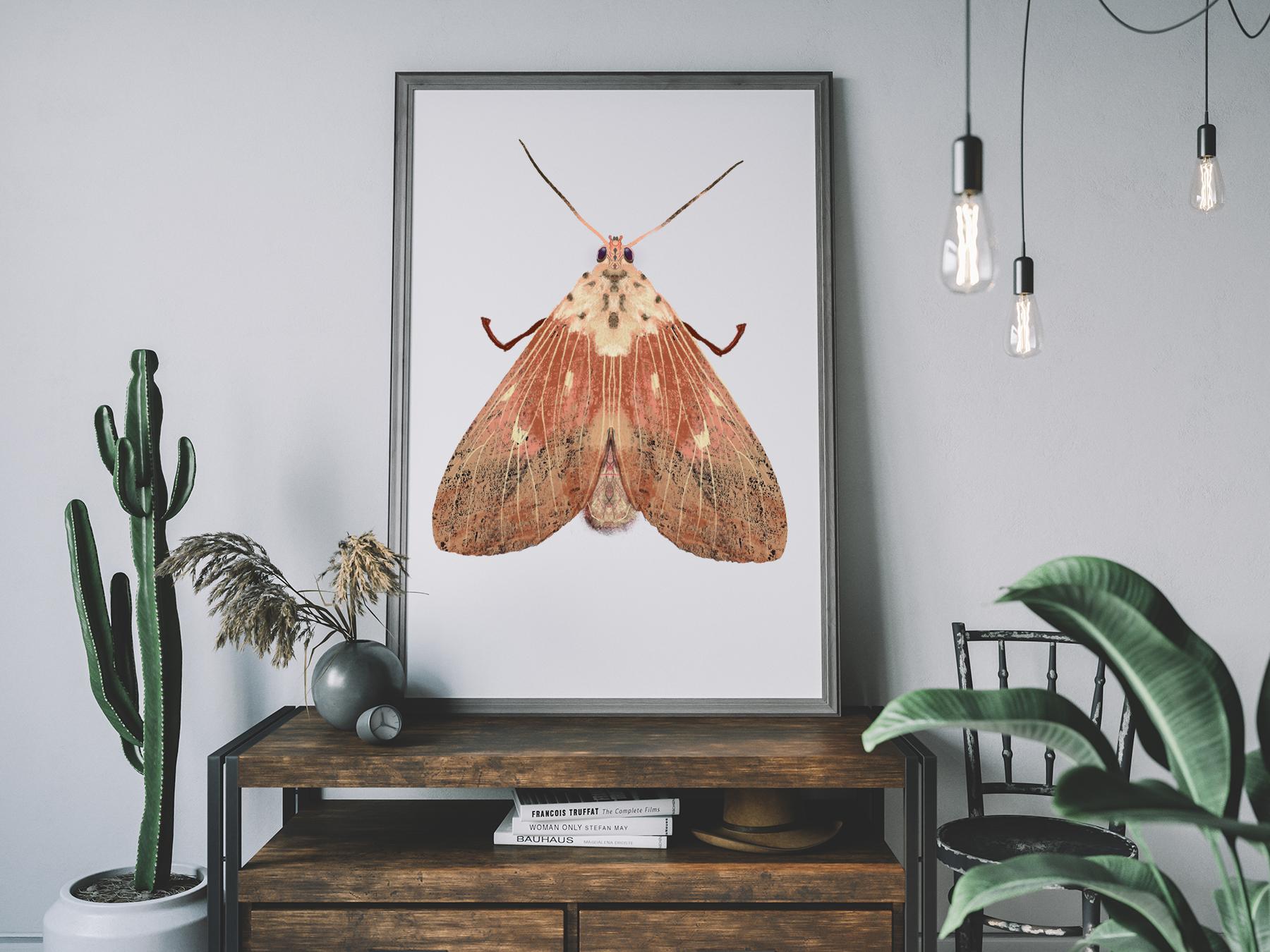Oud roze mot illustratie A3 print Angela Peters, NatuurlijkAngelart