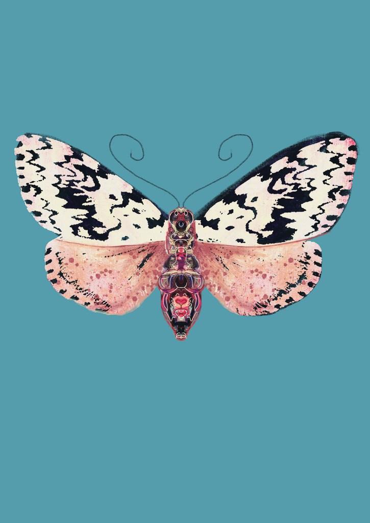 pink moth black spots, Natuurlijk Angelart, Angela Peters. Illustratie