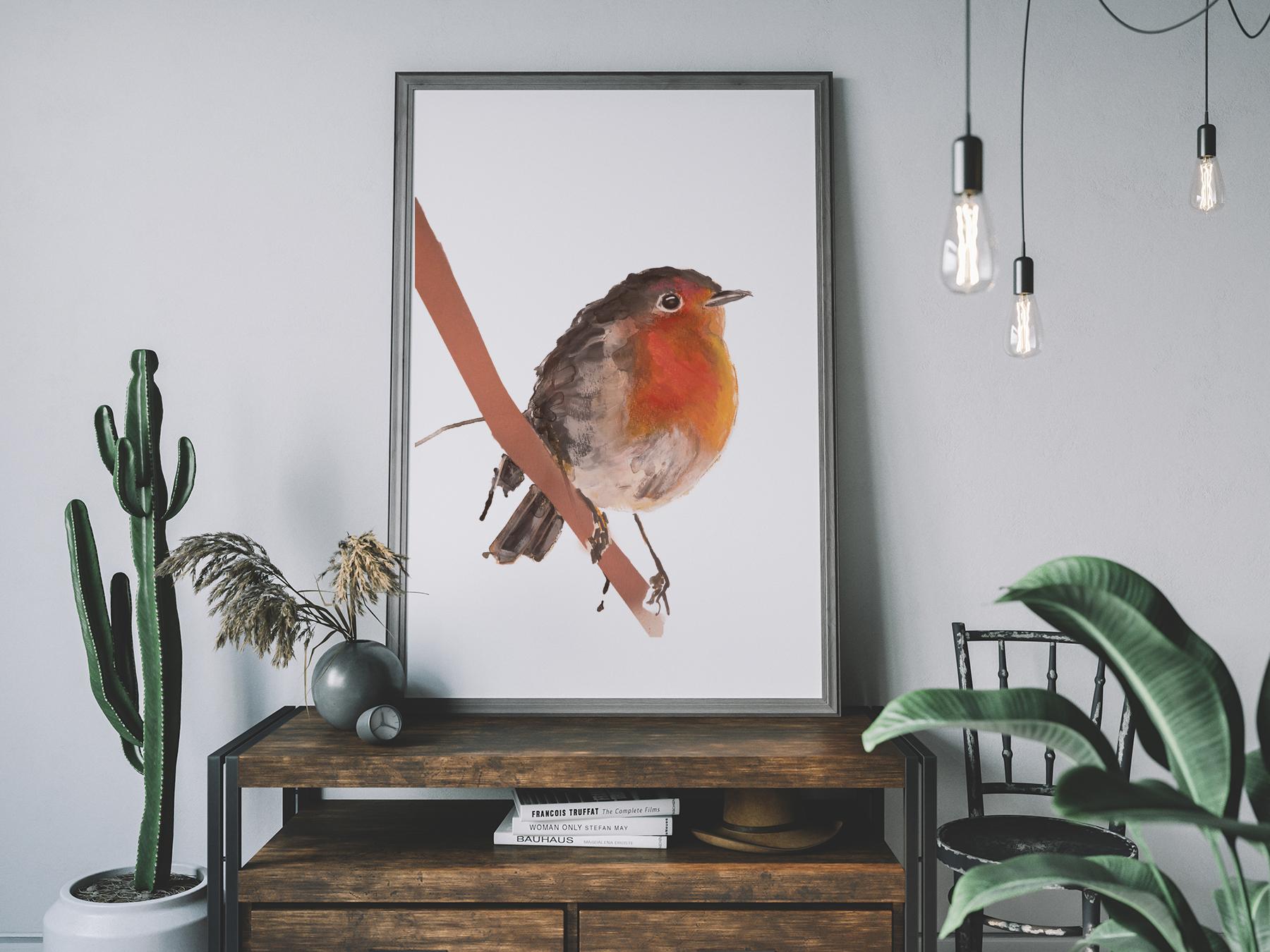 Roodborstje, Robin, bird, vogel, animal dieren print, Natuurlijk Angelart, Angela Peters. Illustratie Ink aquarel