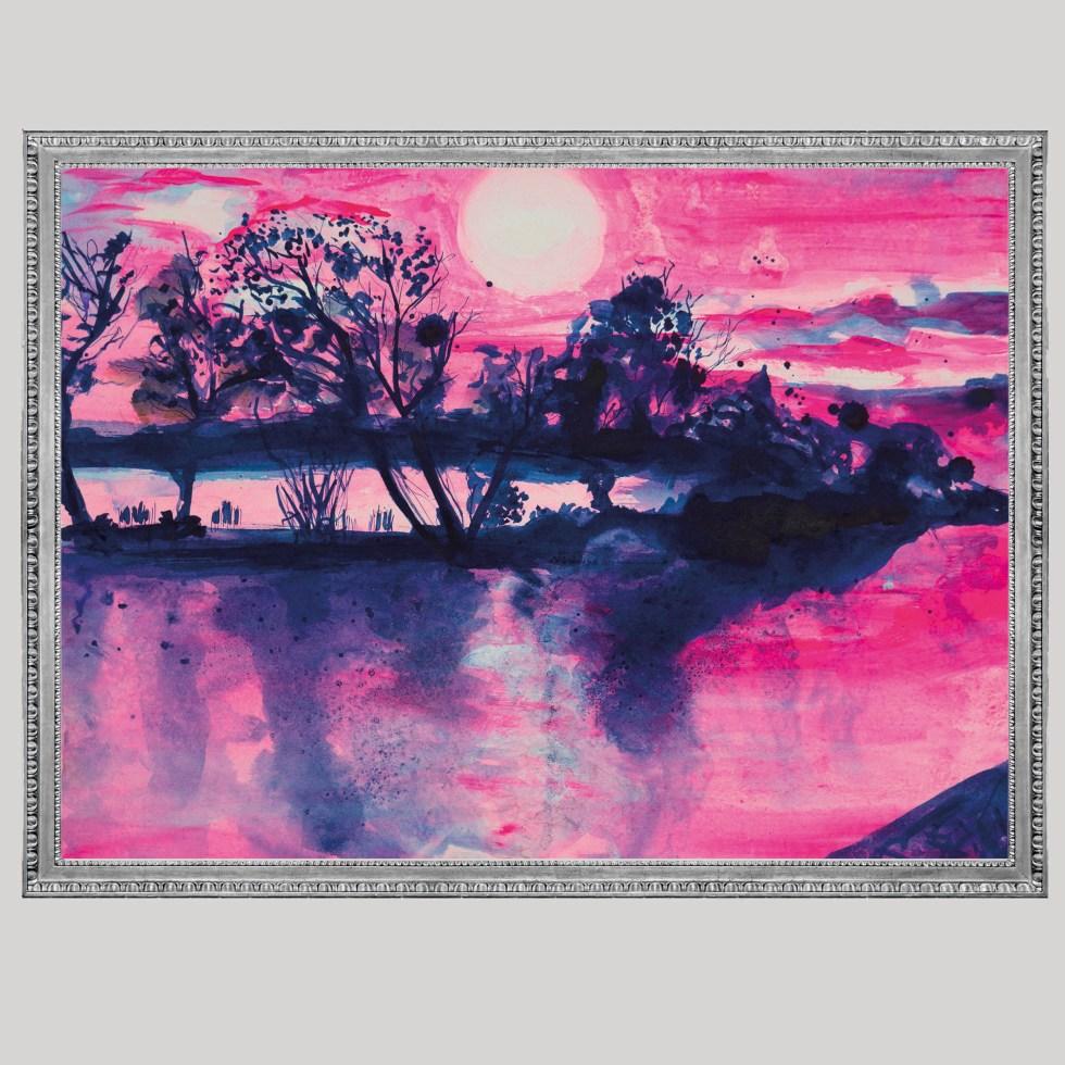 roze landschap met blauwe inkt illustratie A3 print Angela Peters, NatuurlijkAngelart
