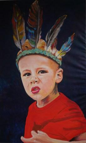 Portretten, portret schilderijen Angela Peters indiaan