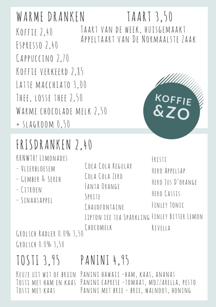 Menu kaart Angelart Kunst&Zo