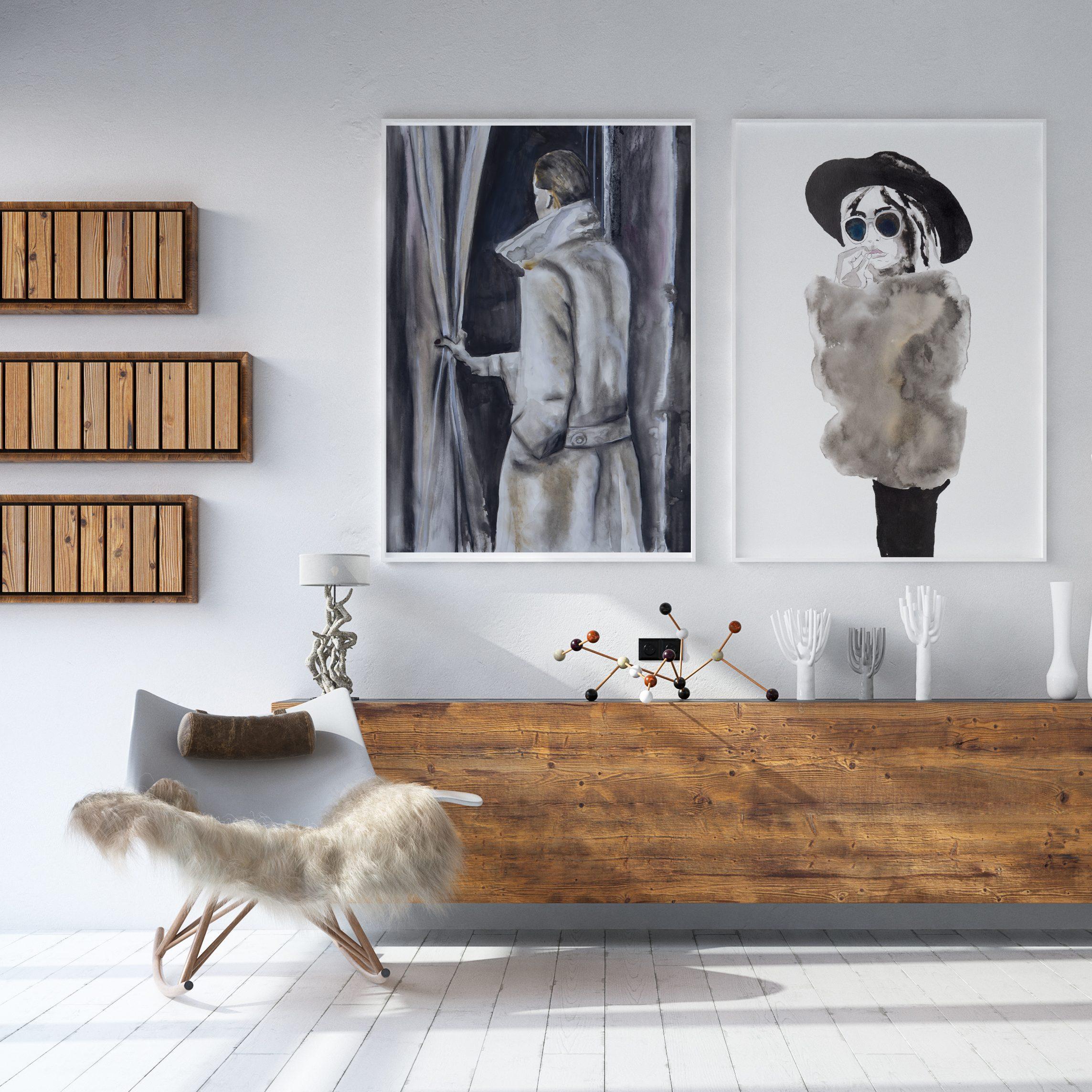 Achter het gordijn - fine art print Angela Peters Angelart Kunst&Zo