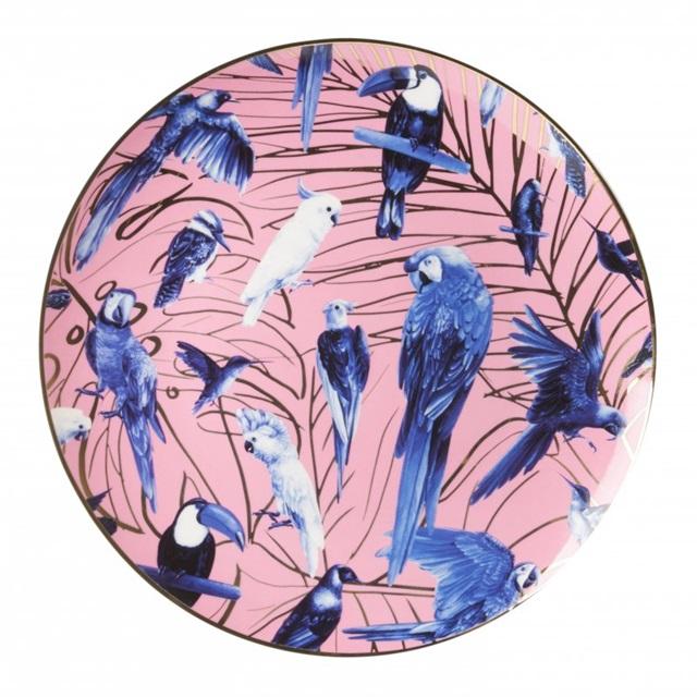 Tropische Vogels Heinen Delfts Blauw wand borden bij Angelart Kunst en Zo Hattem Vlindertuin
