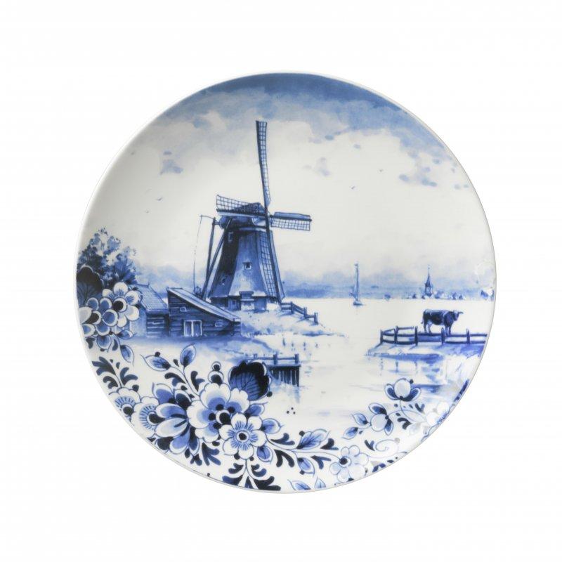 Wandbord molen met bloemen Heinen Delfts Blauw wand borden bij Angelart Kunst en Zo Hattem Molen