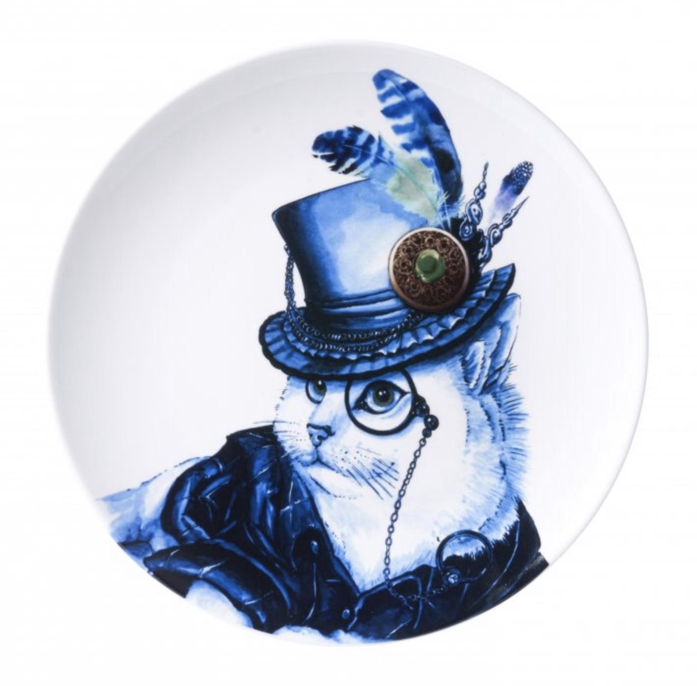 Poes met hoed Heinen Delfts Blauw wand borden bij Angelart Kunst en Zo Hattem dieren