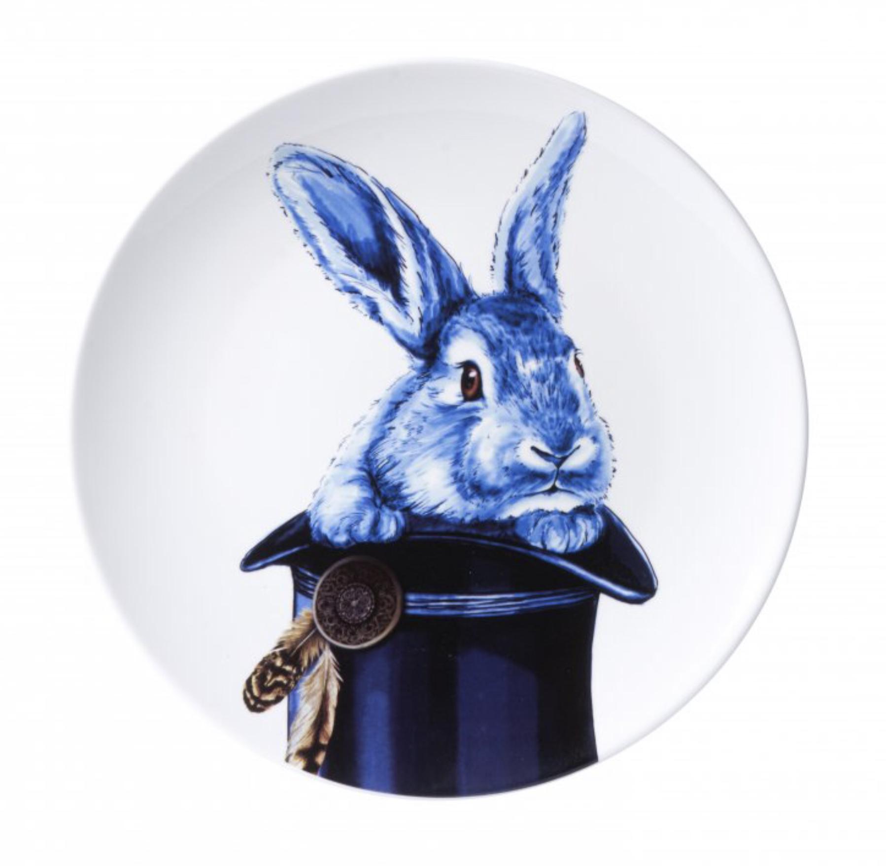 Konijn uit hoed Heinen Delfts Blauw wand borden bij Angelart Kunst en Zo Hattem dieren