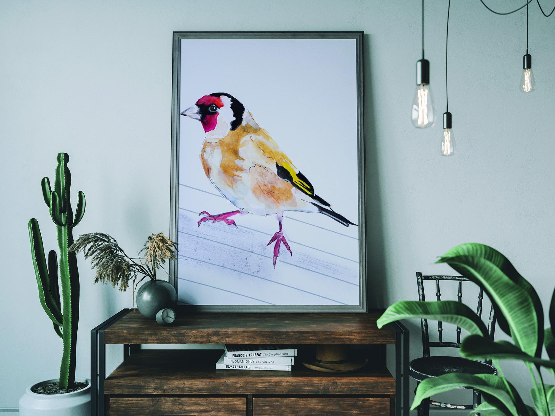 Putter vogel in aquarelverf, schilderij