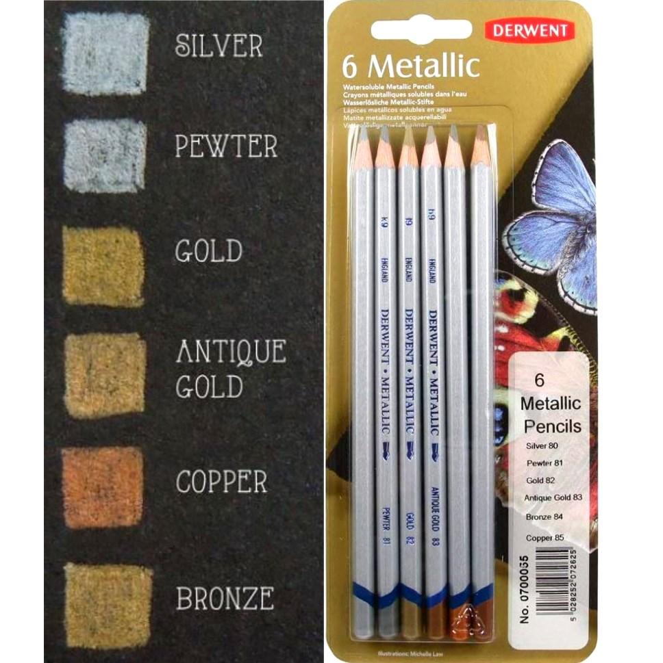 Metallic potloden assorti in blik 5 stuks Derwent