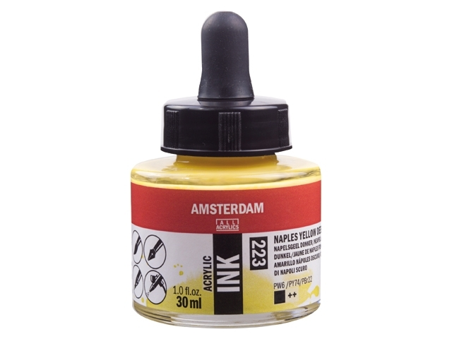 Acryl inkt Napelsgeel donker 223 - Amsterdam acrylic