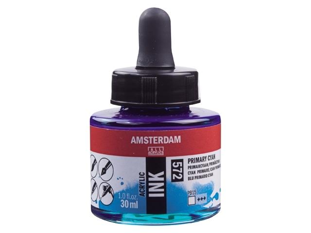Acryl inkt Primair cyan 572 - Amsterdam acrylic
