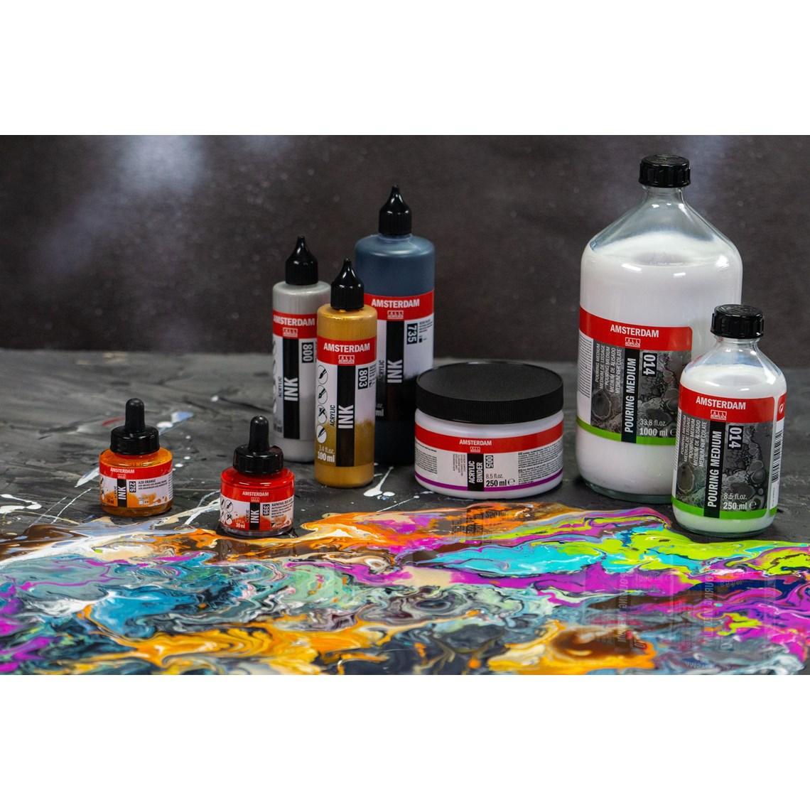Vloeibaar acrylmedium voor acrylic pouring. Droogt met acrylverf of acrylic inkt. Verdunbaar met water. Ideaal voor het gieten met acrylverf