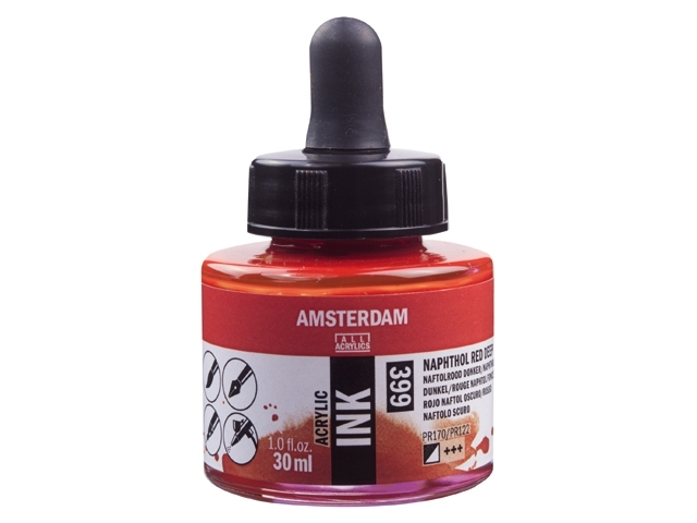 Acryl inkt Naftol rood donker 399 - Amsterdam acrylic