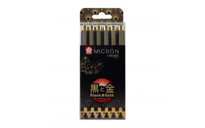 Pigma Micron Black & Gold set met 6 puntdiktes Sakura