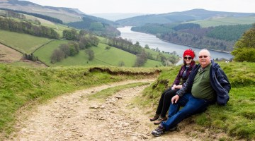 the Anderson hiking Derwent Reservoir on a trip to the United Kingdom