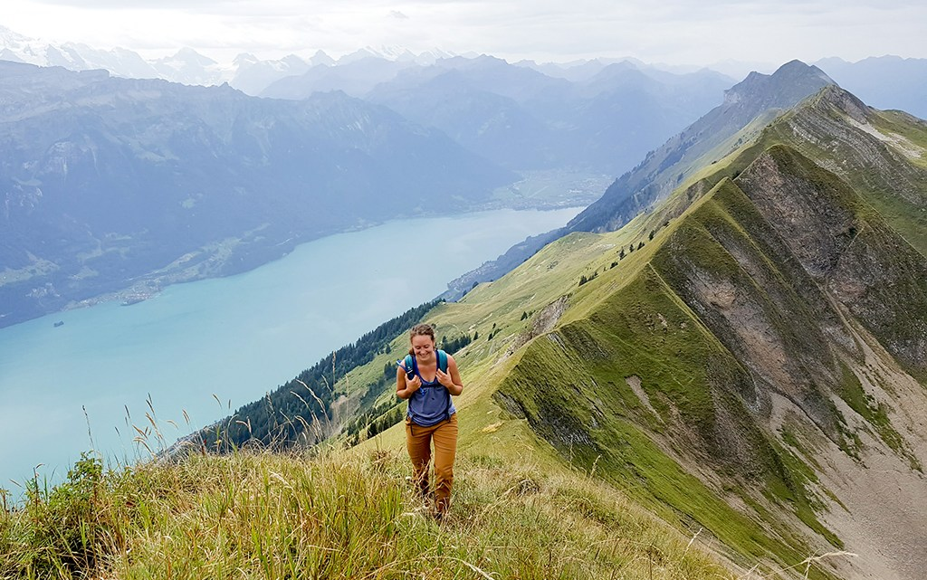 Angela hiking the Hardergrat in Switzerland