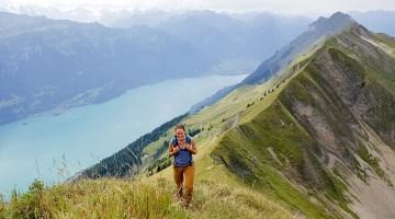 Angela hiking the Hardergrat in Switzerland