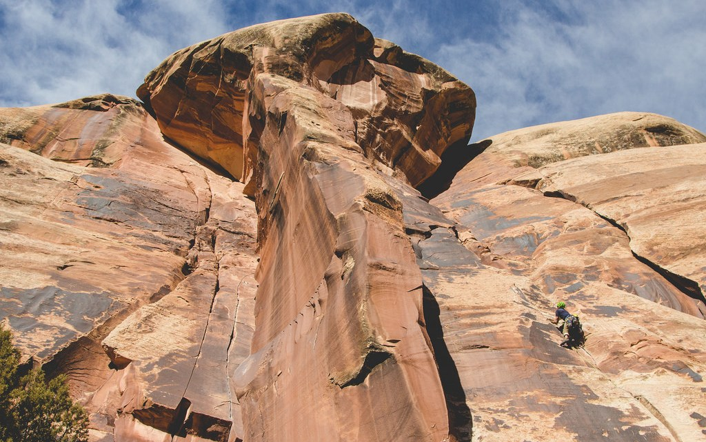 climber in indian creek