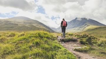 hiker starting the Carn Mor Dearg Arete route on Ben Nevis