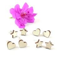 orecchini in legno a perno tagliati a laser stella e cuore